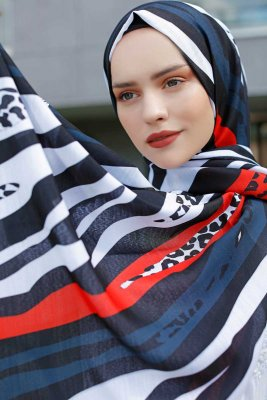 Emel - Navy Blue & Red Patterned Hijab - Sal Evi