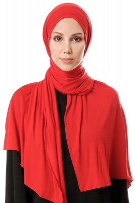 Hande - Red Cotton Hijab - Gülsoy