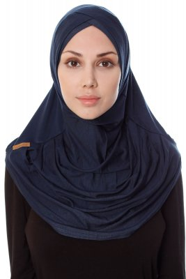Mia - Navy Blue One-Piece Al Amira Hijab - Ecardin