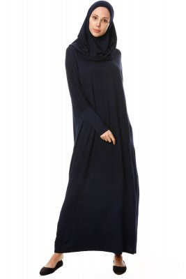 Nisa - Navy Blue Prayer Dress - Miss Halima