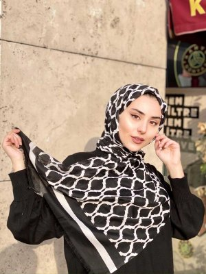 Nona - Black Patterned Cotton Hijab - Mirach