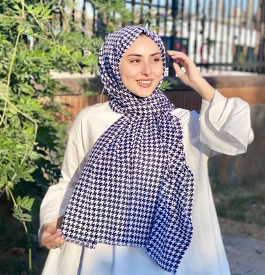 Soheila - Navy Blue & White Patterned Cotton Hijab