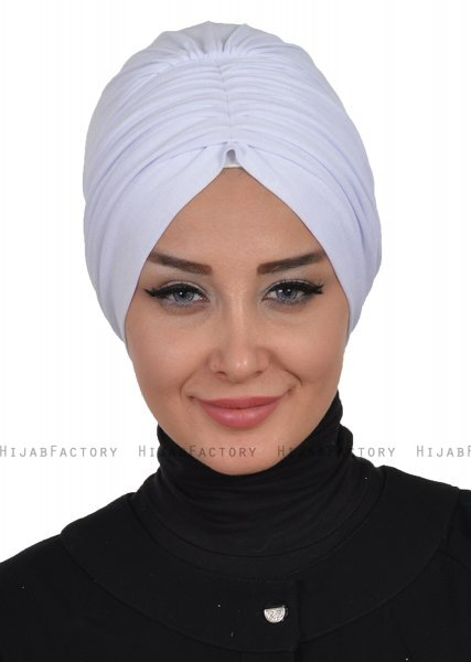 Wilma - White Cotton Turban - Ayse Turban