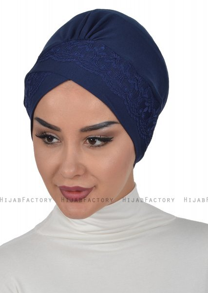 Molly - Navy Blue Lace Cotton Turban