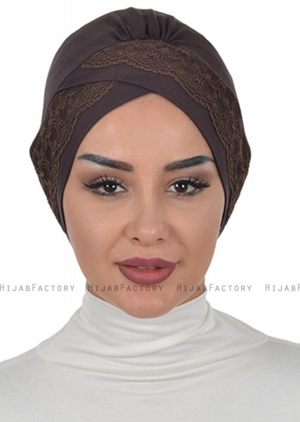 Molly - Brown Lace Cotton Turban