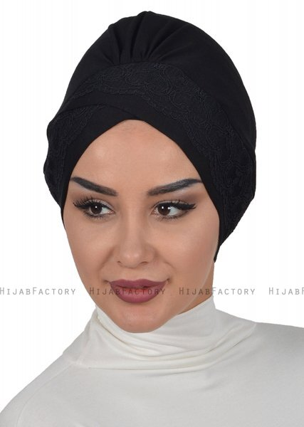 Molly - Black Lace Cotton Turban