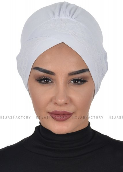 Molly - White Lace Cotton Turban