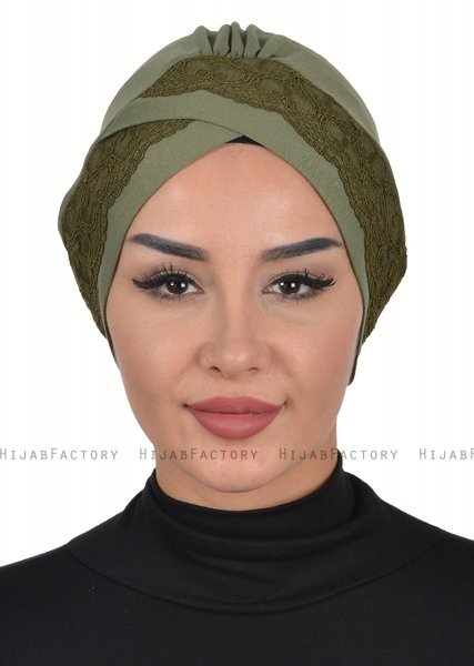 Molly - Khaki Lace Cotton Turban