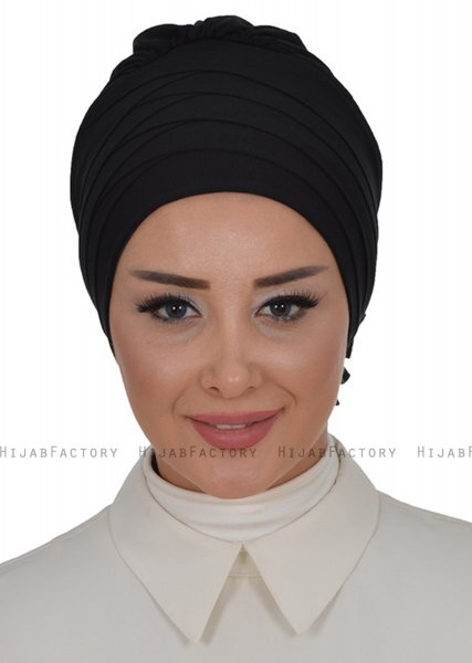 Monica - Black Cotton Turban - Ayse Turban