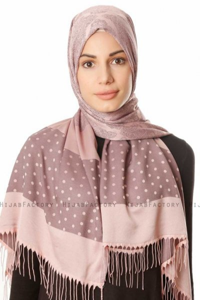 Alev - Dusty Pink Patterned Hijab