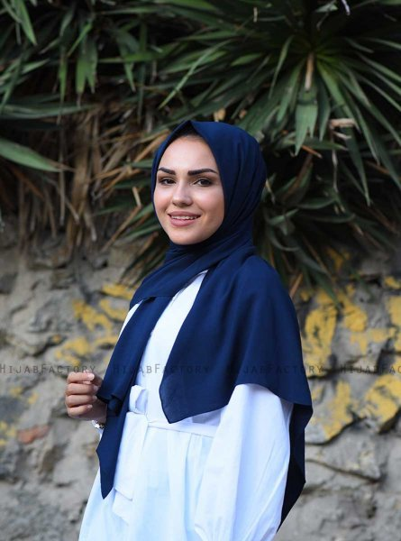 Alida - Navy Blue Cotton Hijab - Mirach