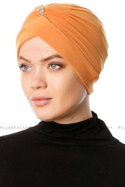Arwa - Orange Crepe Chiffon Turban - Sehr-i Sal