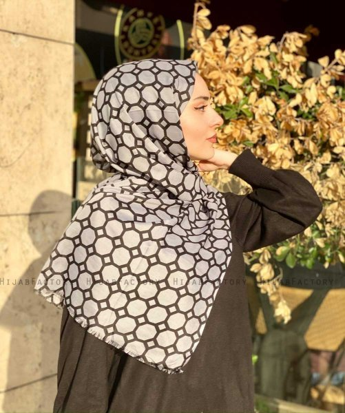 Atika - Grey Patterned Cotton Hijab - Mirach