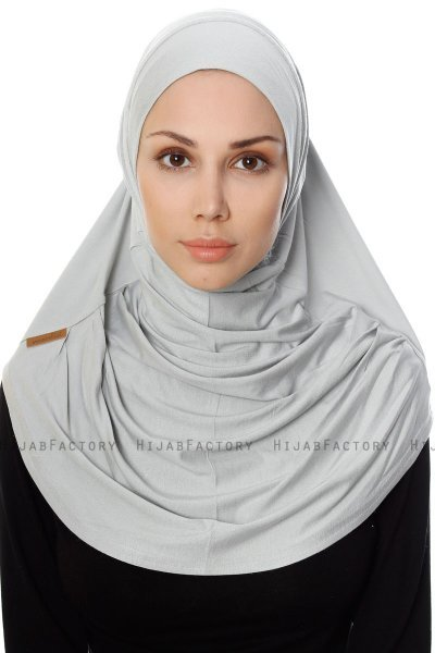 Ava - Light Grey One-Piece Al Amira Hijab - Ecardin