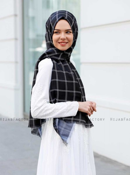 Betulle - Black Patterned Hijab - Sal Evi