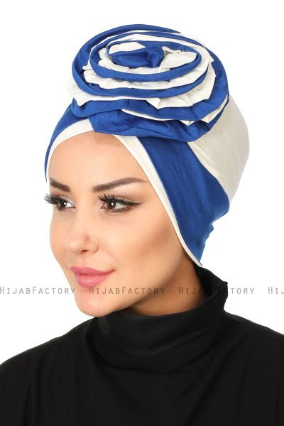 Clara - Blue & Creme Cotton Turban
