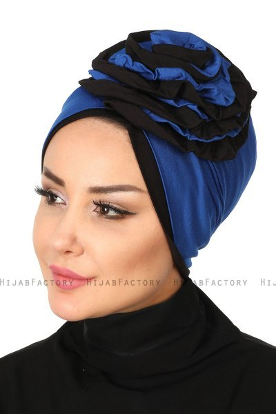 Clara - Blue & Black Cotton Turban