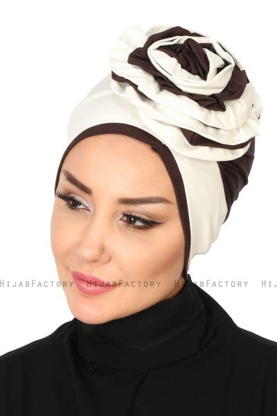 Clara - Creme & Brown Cotton Turban