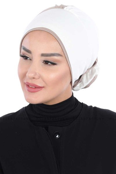 Clara - Creme & Taupe Cotton Turban
