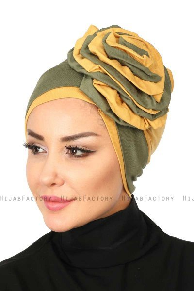 Clara - Khaki & Mustard Cotton Turban