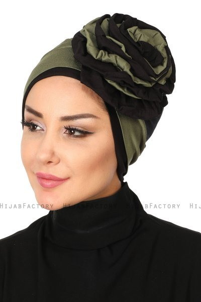 Clara - Khaki & Black Cotton Turban