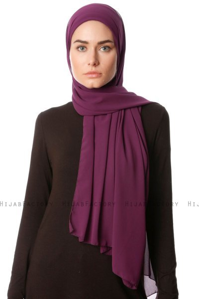 Derya - Dark Purple Practical Chiffon Hijab