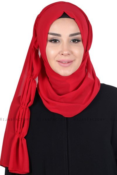 Disa - Red Practical Chiffon Hijab