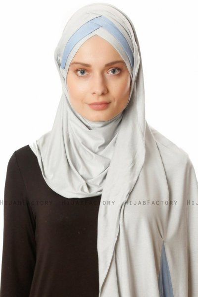 Duru - Light Grey & Light Blue Jersey Hijab