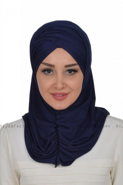 Hilda - Navy Blue Cotton Hijab