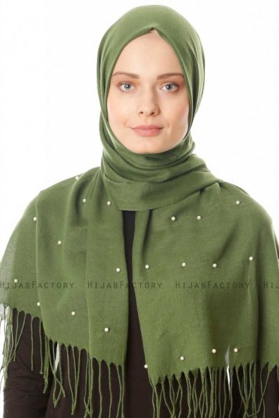 Kadri - Khaki Hijab With Pearls - Özsoy