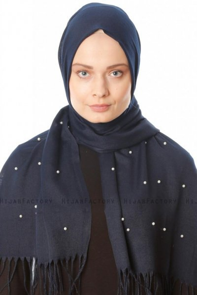 Kadri - Navy Blue Hijab With Pearls - Özsoy
