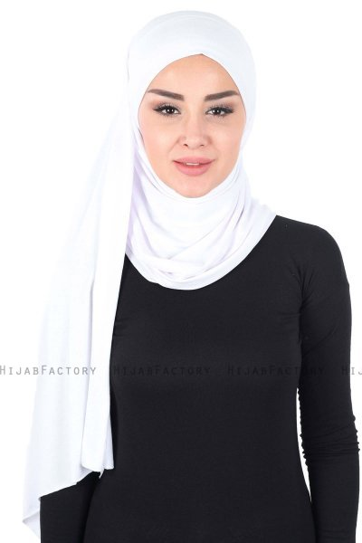 Kaisa - White Practical Cotton Hijab