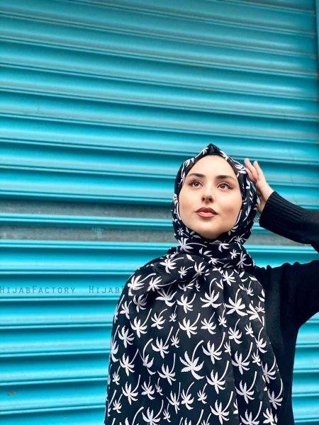 Kenza - Black Patterned Cotton Hijab - Mirach