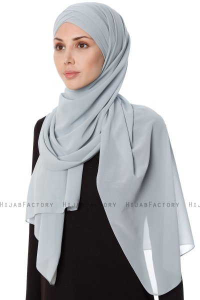 Mehtap - Grey Practical One Piece Chiffon Hijab