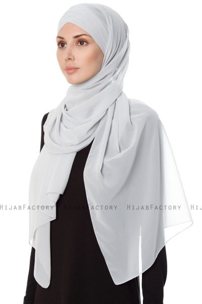 Mehtap - Light Grey Practical One Piece Chiffon Hijab