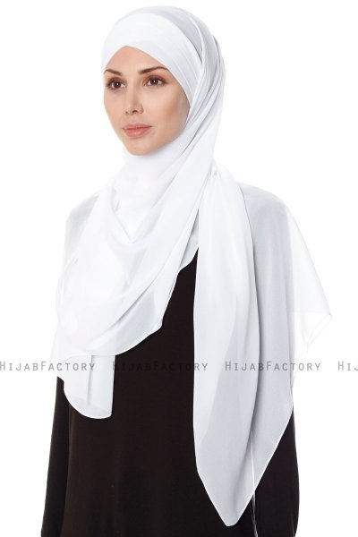 Mehtap - White Practical One Piece Chiffon Hijab
