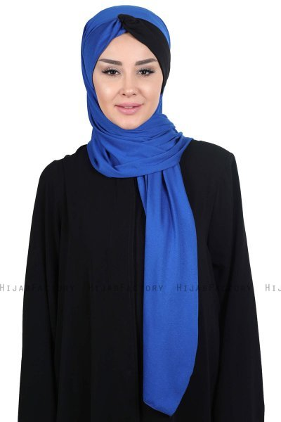 Mikaela - Blue & Black Practical Cotton Hijab