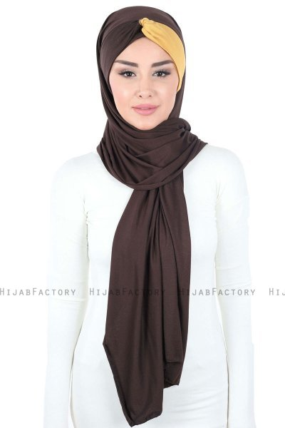 Mikaela - Brown & Mustard Practical Cotton Hijab