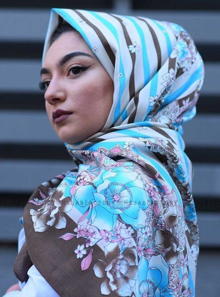 Niusha - Taupe Patterned Voile Hijab