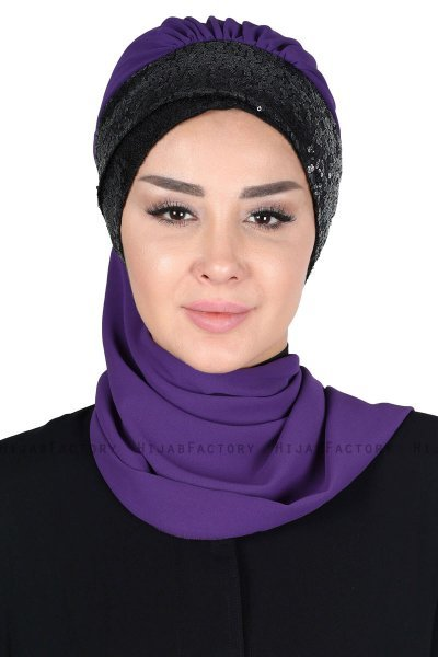Olga - Purple & Black Chiffon Turban