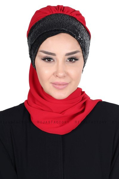 Olga - Red & Black Chiffon Turban