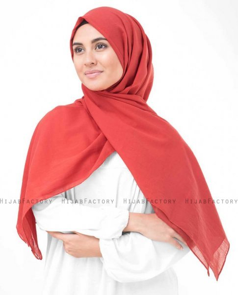 Red Risk Hallonröd Bomull Voile Hijab InEssence 5TA71b