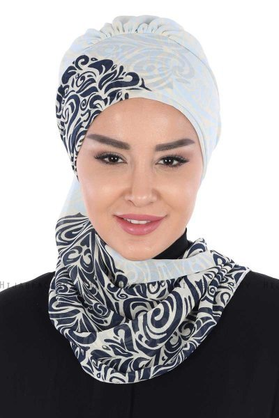 Regina - Navy Blue & Light Blue Chiffon Turban