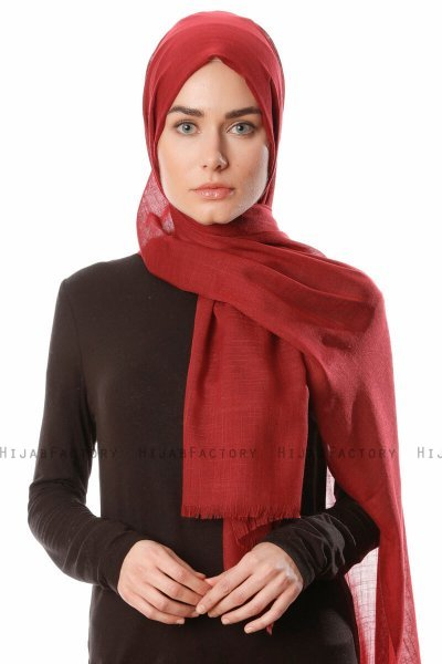 Selma - Dark Bordeaux Plain Color Hijab - Gülsoy