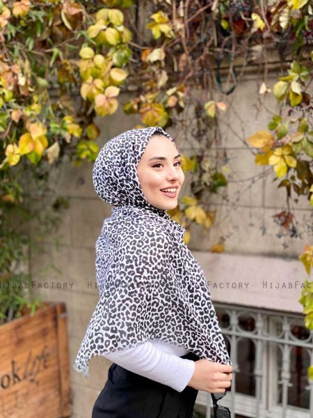 Suha - Black & White Leopard Patterned Cotton Hijab