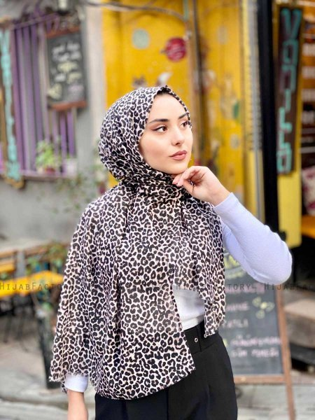 Suha - Taupe Leopard Patterned Cotton Hijab