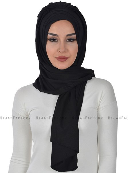Tamara - Black Practical Cotton Hijab