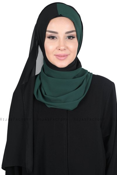 Ylva - Dark Green & Black Practical Chiffon Hijab
