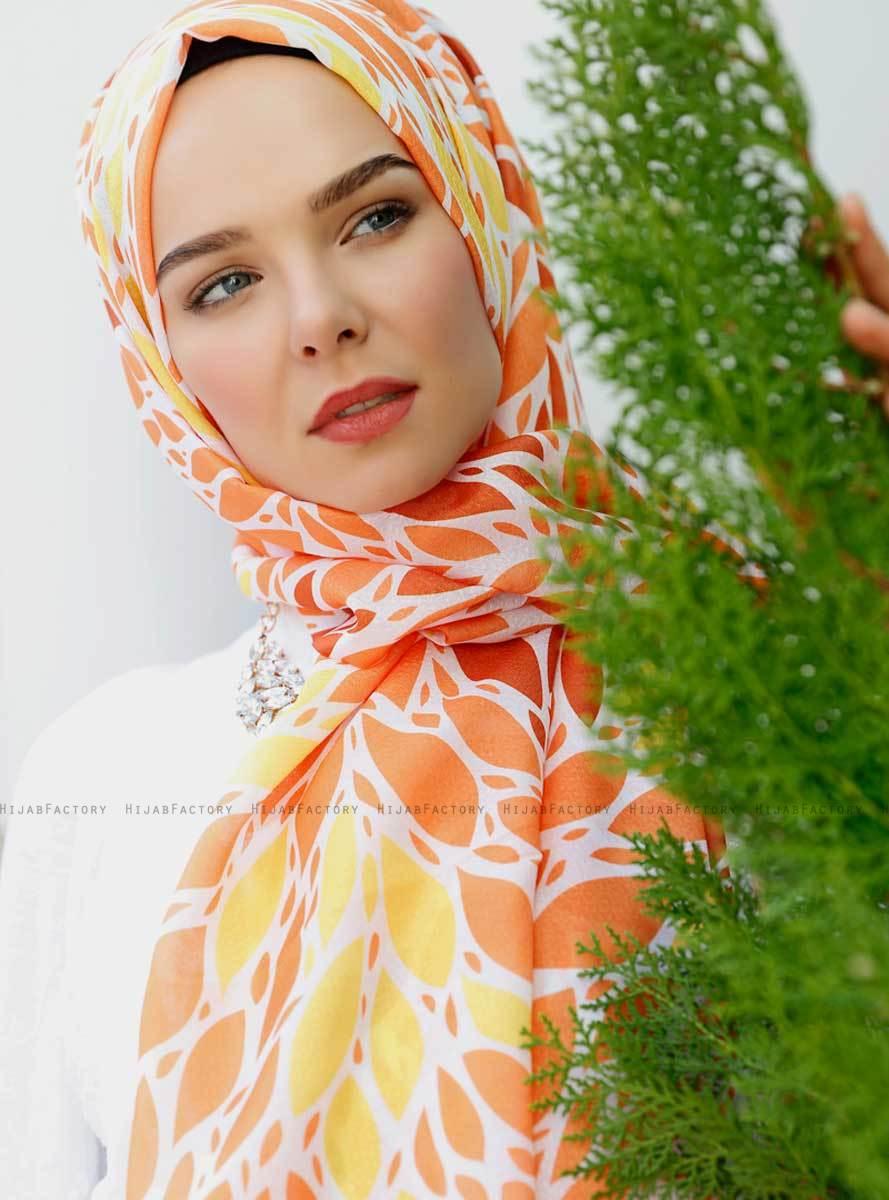 Gemila - Orange Patterned Hijab - Sal Evi - Hijab